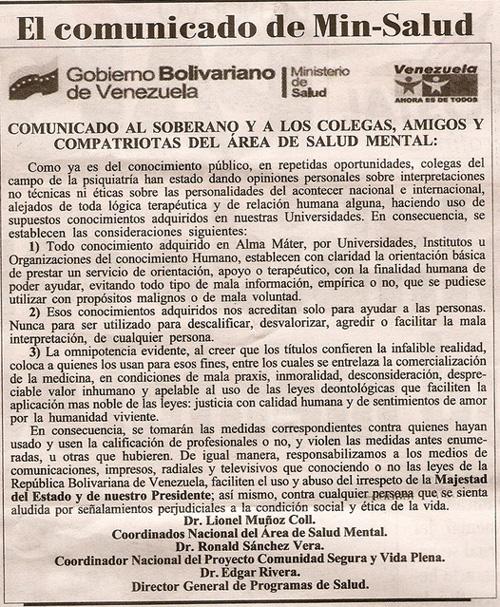 Comunicado de Min-Salud sobre la salud mental del Presidente Hugo Chávez